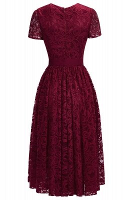 Short Sleeves Seath Red Lace Dresses with Ribbon Bow_7