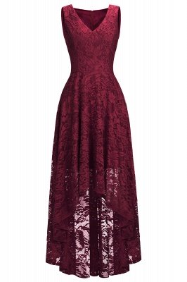 Vestidos de encaje de color borgoña sin mangas con cuello en V de una línea_6