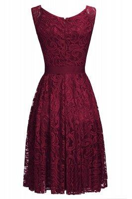 Vestidos sencillos de encaje rojo sin mangas con lazo de cinta_4