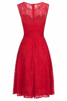 A-line без рукавов Бургунские кружевные платья с луком_2