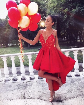 Cute Red High-low A-line Lace V-neck Homecoming Dress BA6902_3