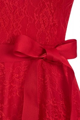 V-neck Short Sleeves Lace Dresses with Bow Sash_6