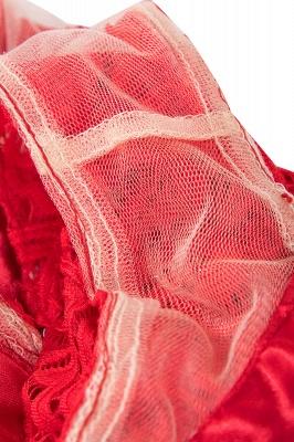 Vestidos sencillos de encaje rojo sin mangas con lazo de cinta_11