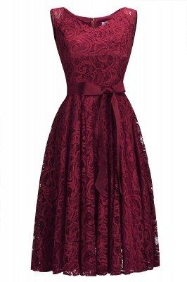 Vestidos sencillos de encaje rojo sin mangas con lazo de cinta_2