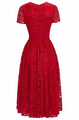 Short Sleeves Seath Red Lace Dresses with Ribbon Bow_13