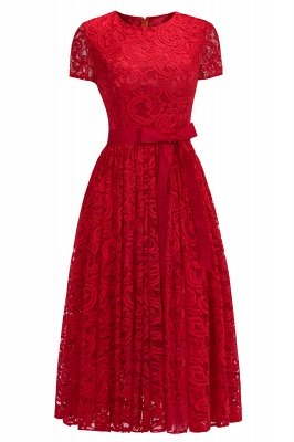 Short Sleeves Seath Red Lace Dresses with Ribbon Bow_2