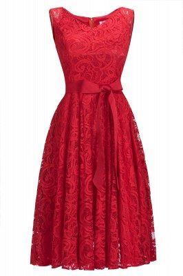 Vestidos sencillos de encaje rojo sin mangas con lazo de cinta_1