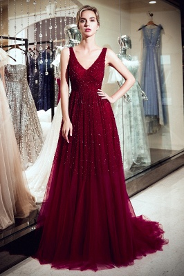 MELANIE | A-line Long V-neck Sleeveless Burgundy Sequins Tulle Evening Dresses_1