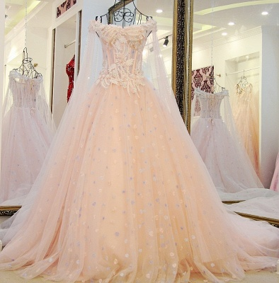 Off-the-Shoulder Sleeveless Appliques Quinceanera Dresses_3