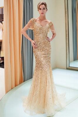 MELISSA | Mermaid Off-the-shoulder V-neck Floor Length Sequins Evening Dresses_14