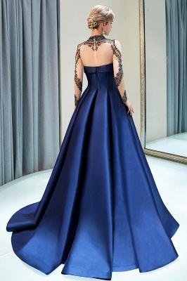 MARIN | A-line Long Sleeves Beading Neckline Satin Evening Gowns_3