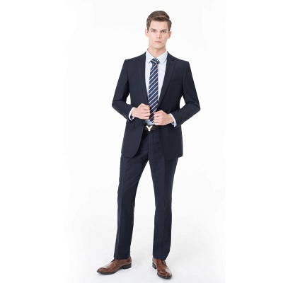 Peak Lapel Two Pieces with Pants Two Button Comfortable Casual Suits_4