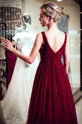 MELANIE | A-line Long V-neck Sleeveless Burgundy Sequins Tulle Evening Dresses_3