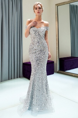 MAUDE | Mermaid Off-the-shoulder Long Sequins Silver Evening Gowns_5