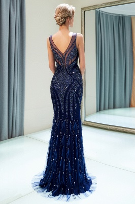 MATHILDA | Mermaid Sleeveless V-neck Sequins Pattern Long Evening Gowns_9