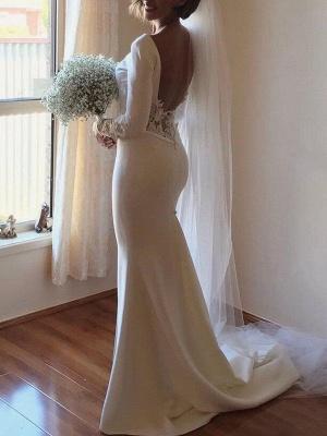 Lace Satin Long Sleeves Mermaid Scoop Court Train Wedding Dresses_3