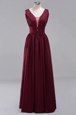 Weinrote Brautjungfernkleider Aus Chiffon | Elegantes Brautjungfer Kleid Bodenlang_1