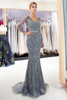 MAVIS | Mermaid Long Sleeves V-neck Sequins Evening Gowns with Sash_4
