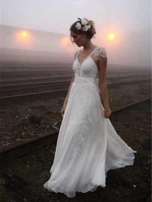 Chiffon A-Line Sleeveless V-neck Floor-Length Lace Wedding Dresses_1
