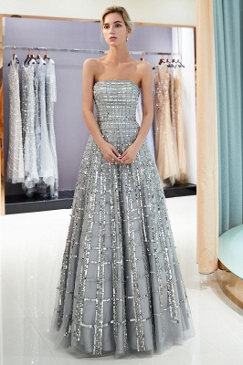 MARJORY | A-line Floor Length Strapless Sequined Chiffon Party Dresses_5