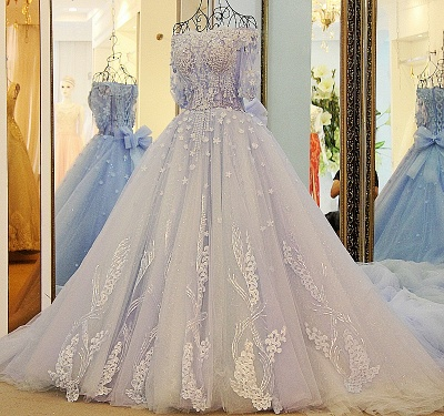3/4 Sleeves Applique A-Line Ball Gown Off-The-Shoulder Bow Prom Dresses_4