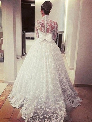 Cathedral Train Ribbon Ball Gown High Neck Lace Long Sleeves Wedding Dresses_4