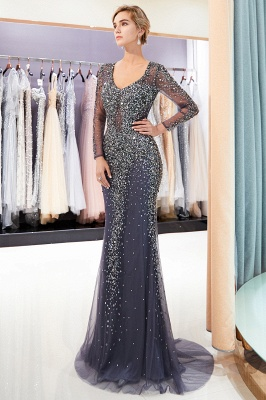 MAUREEN | Mermaid V-neck Long Sleeves Sparkly Beading Evening Dresses_5