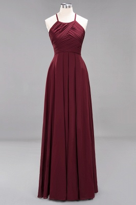 A-Line Chiffon Halter Ruffles Floor-Length Bridesmaid Dress_10