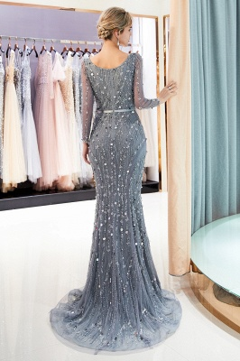 MAVIS | Mermaid Long Sleeves V-neck Sequins Evening Gowns with Sash_3