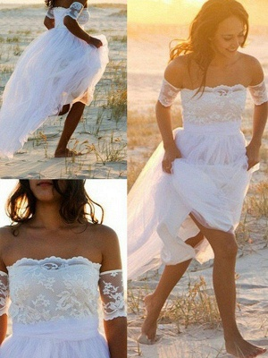 Sleeveless A-Line Floor-Length Off-the-Shoulder Lace Chiffon Wedding Dresses_3