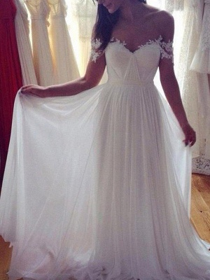 Sweep Train A-Line Chiffon Sleeveless Applique Lace Off-the-Shoulder Wedding Dresses_3