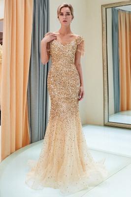 MELISSA | Mermaid Off-the-shoulder V-neck Floor Length Sequins Evening Dresses_17