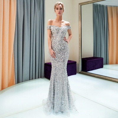 MAUDE | Mermaid Off-the-shoulder Long Sequins Silver Evening Gowns_6