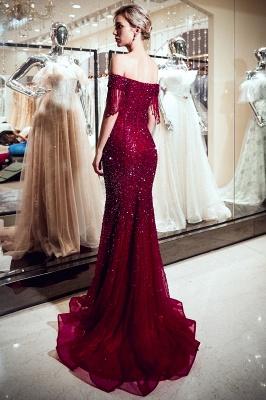 MELISSA | Mermaid Off-the-shoulder V-neck Floor Length Sequins Evening Dresses_4