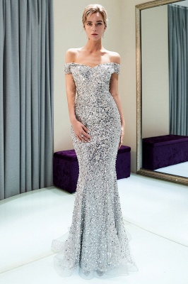 MAUDE | Mermaid Off-the-shoulder Long Sequins Silver Evening Gowns_7