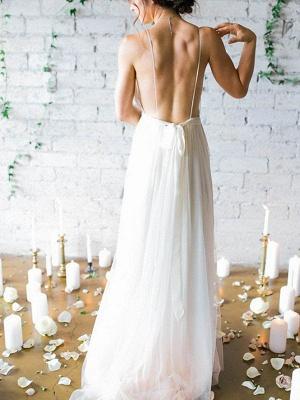 Sweep Train A-Line Sleeveless Ruffles Chiffon Spaghetti Straps Wedding Dresses_3