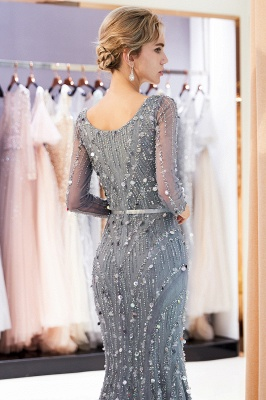 MAVIS | Mermaid Long Sleeves V-neck Sequins Evening Gowns with Sash_8