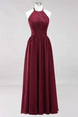A-line Chiffon Appliques Halter Sleeveless Floor-Length Bridesmaid Dresses with Ruffles_7