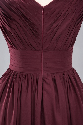 Weinrote Brautjungfernkleider Aus Chiffon   Elegantes Brautjungfer Kleid Bodenlang_16