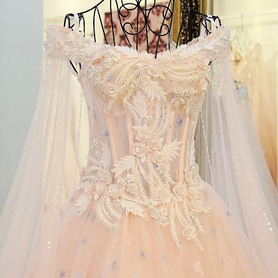 Off-the-Shoulder Sleeveless Appliques Quinceanera Dresses_5