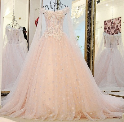 Off-the-Shoulder Sleeveless Appliques Quinceanera Dresses_1