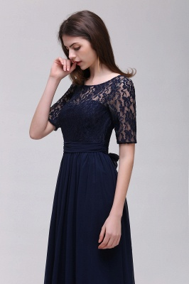 Custom Made A-line Chiffon Lace Scoop Half-Sleeve Floor-Length Bridesmaid Dress with Round back_4