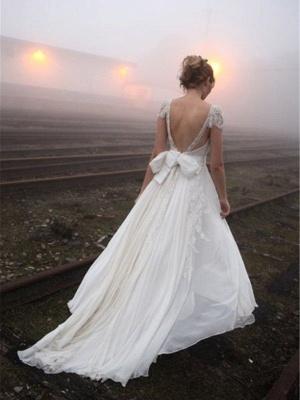 الشيفون ألف خط أكمام الخامس الرقبة الطابق طول الرباط فساتين الزفاف_3