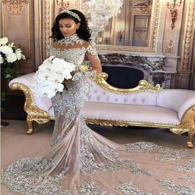 Long Sleeve Silver High Neck Popular Evening Dress Lace Mermaid Luxury Wedding Dresses BH-362_4