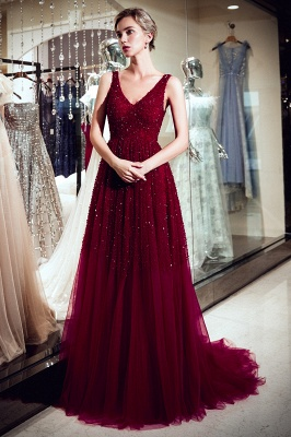 MELANIE | A-line Long V-neck Sleeveless Burgundy Sequins Tulle Evening Dresses_5