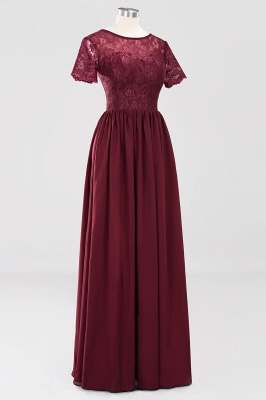 A-line Chiffon Lace Jewel Short-Sleeves Floor-length Bridesmaid Dress_42