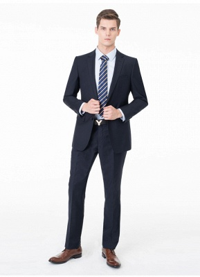 Peak Lapel Two Pieces with Pants Two Button Comfortable Casual Suits_9