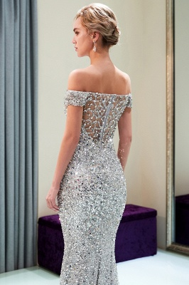 MAUDE | Mermaid Off-the-shoulder Long Sequins Silver Evening Gowns_14