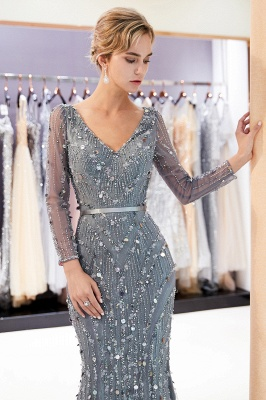 MAVIS | Mermaid Long Sleeves V-neck Sequins Evening Gowns with Sash_6