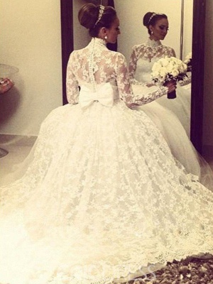 Cathedral Train Ribbon Ball Gown High Neck Lace Long Sleeves Wedding Dresses_3